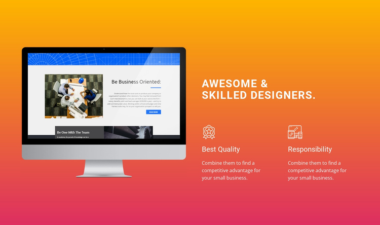 Awesome and Skilled Designers One Page Template