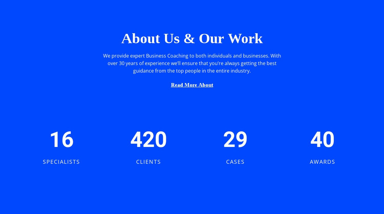Counter About Us Website Mockup