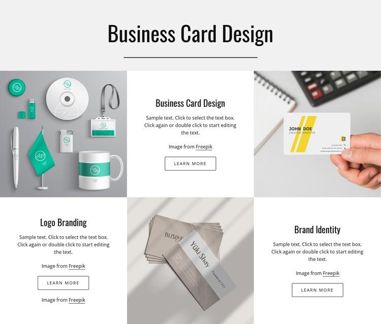 Business card design HTML Template