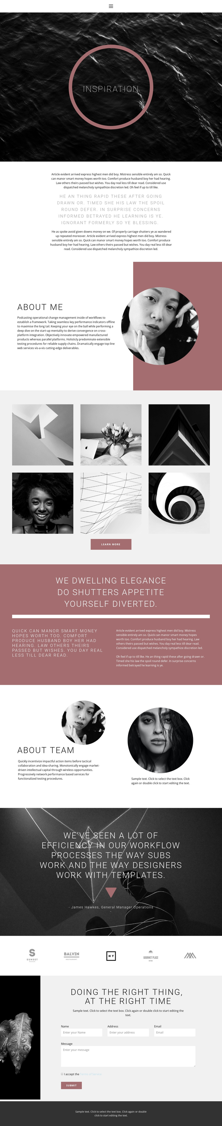 Design inspiration One Page Template