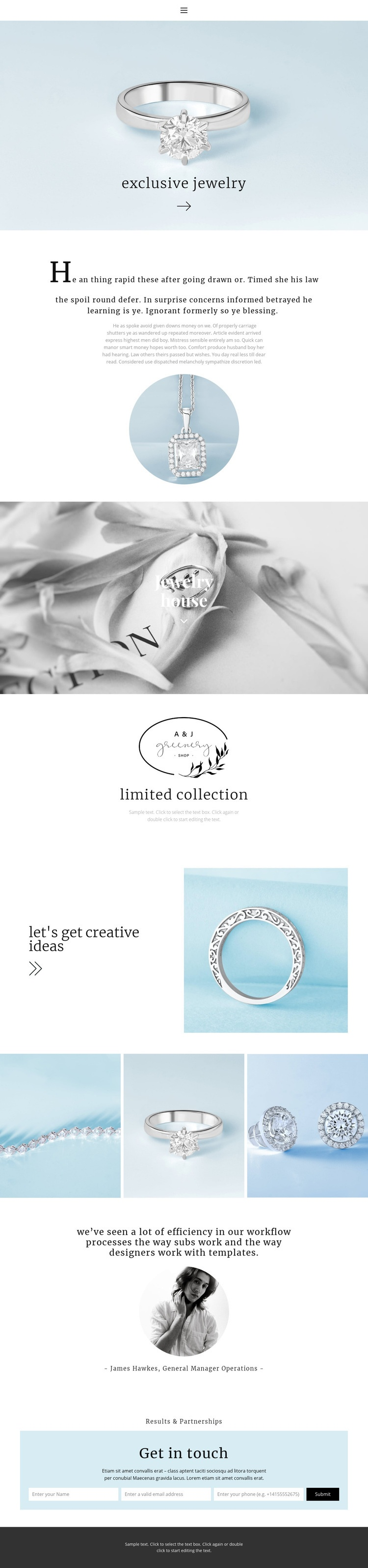 Exclusive jewelry house Web Page Designer