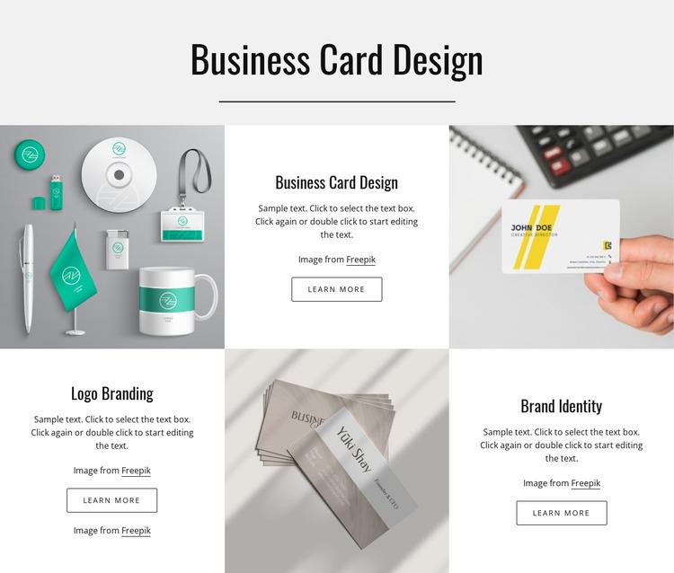Business card design Website Mockup