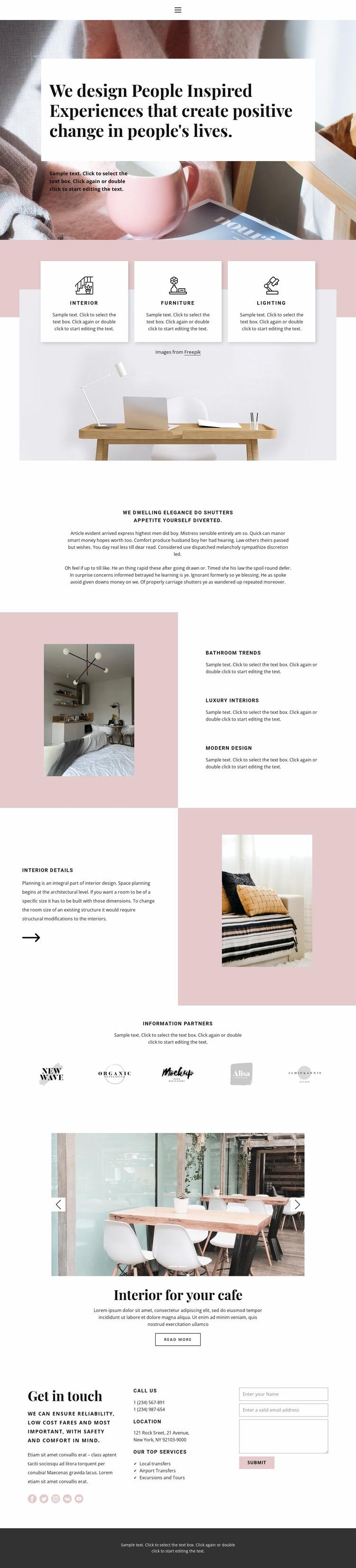 Powdery color in the interior Website Mockup
