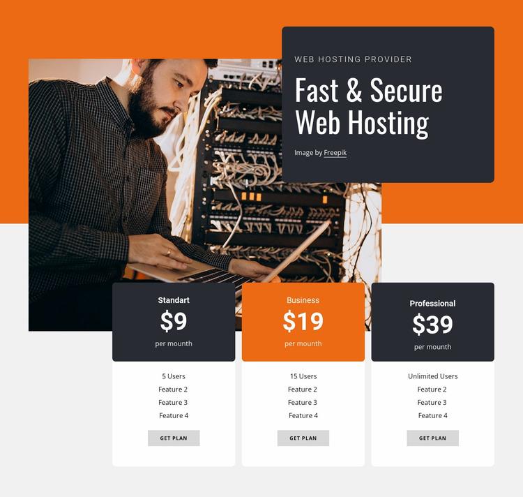 Secure web hosting Website Mockup