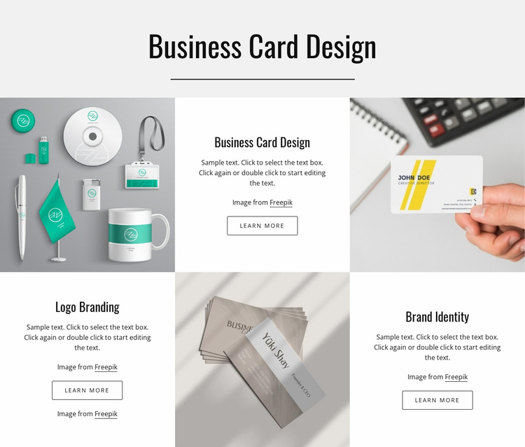Business card design Website Template