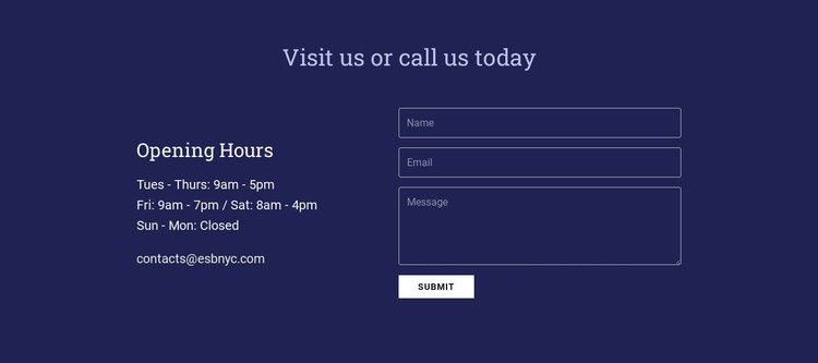 Visit us or call us today CSS Template