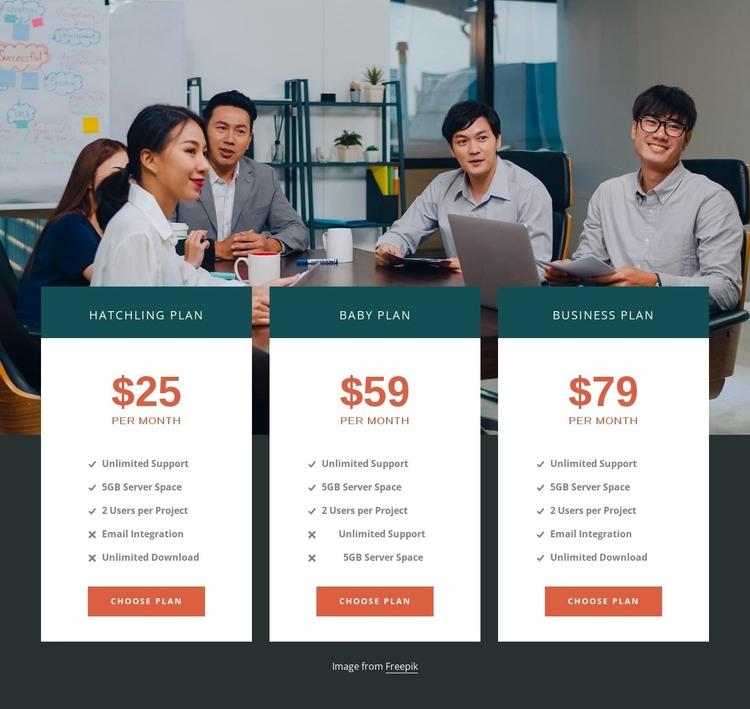 Web hosting plans HTML Template