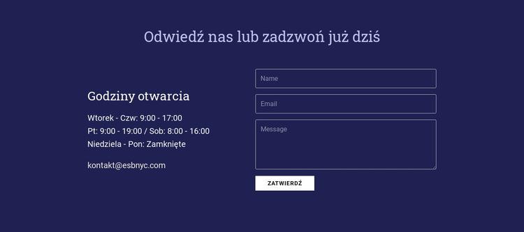 Odwiedź nas lub zadzwoń już dziś Szablon witryny sieci Web