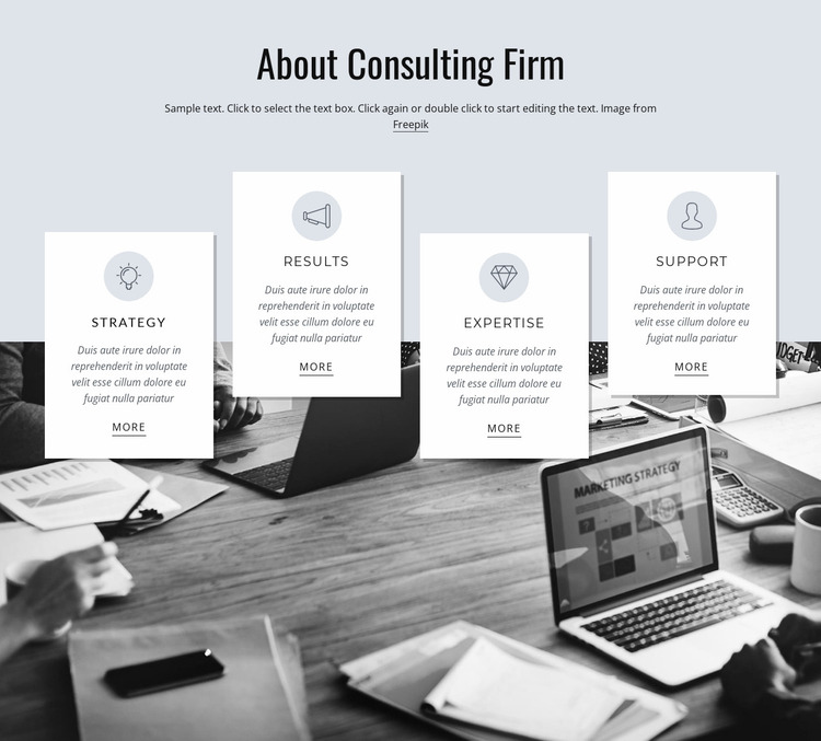 About consulting firm Website Mockup