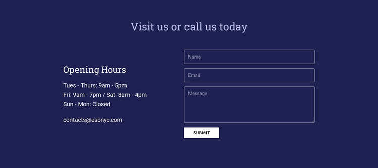 Visit us or call us today Website Mockup