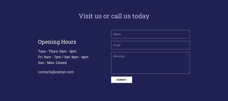 Visit us or call us today Website Template
