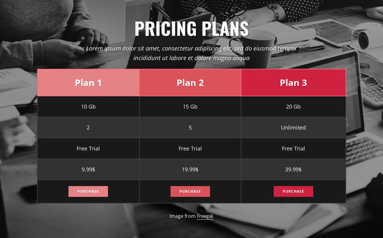 Pricing table on image background HTML Template