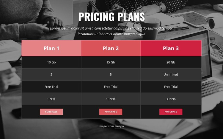 Pricing table on image background Static Site Generator