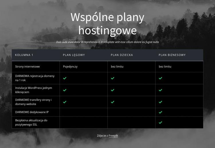 Wspólne plany hostingowe Szablon Joomla