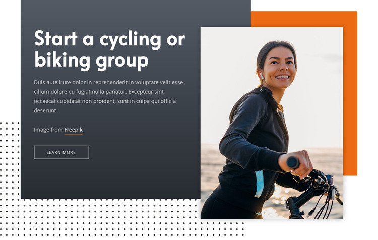 Start a cycling group HTML Template