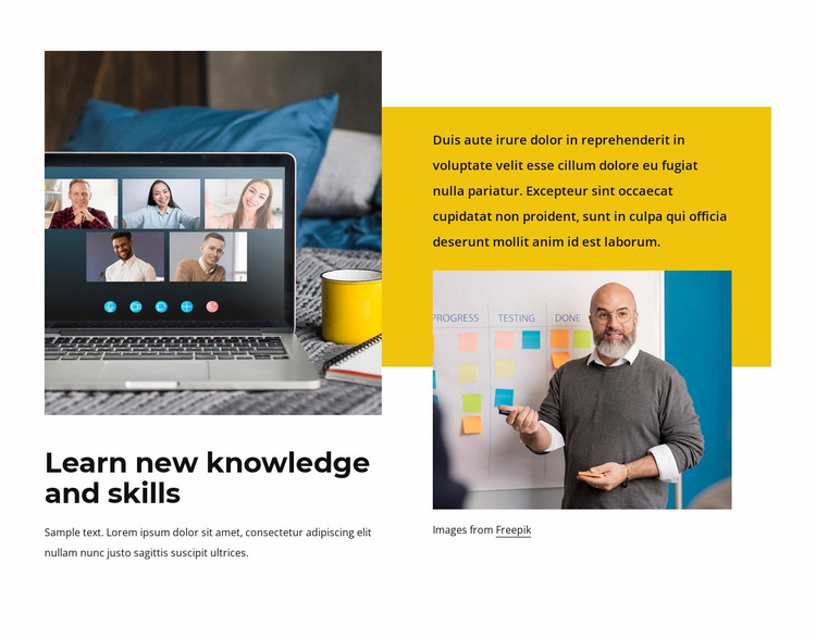 New knowledge and skills Website Mockup