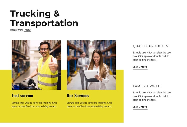Trucking and transportation Web Page Design