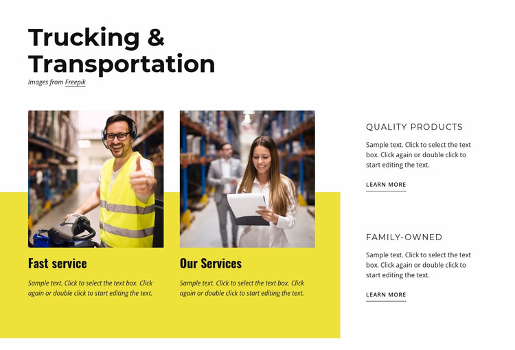 Trucking and transportation Website Mockup