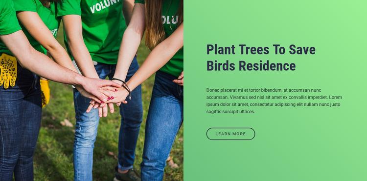 Plant trees to save birds residence WordPress Website Builder