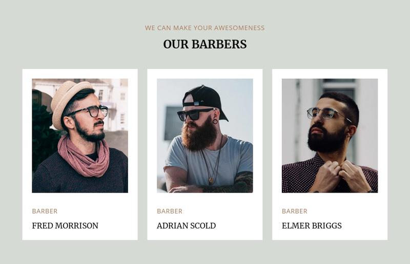 Barbers of modern barbershop Web Page Design