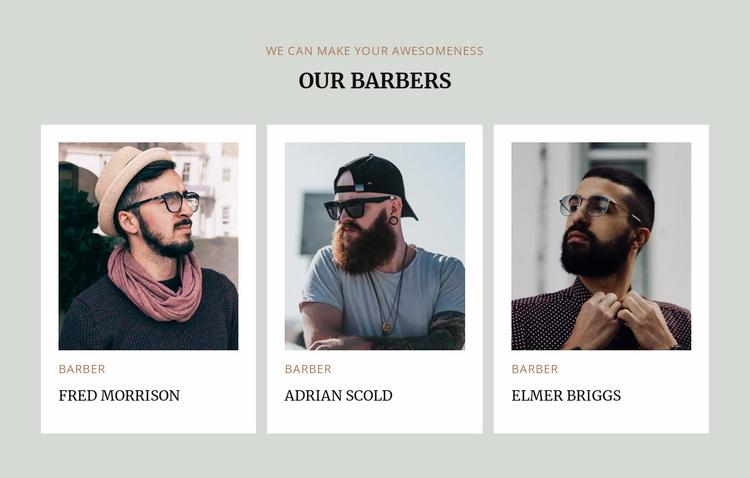 Barbers of modern barbershop Landing Page