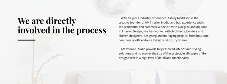 Text directly involved process Website Mockup