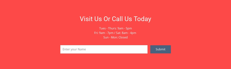 Visit or call us Website Template