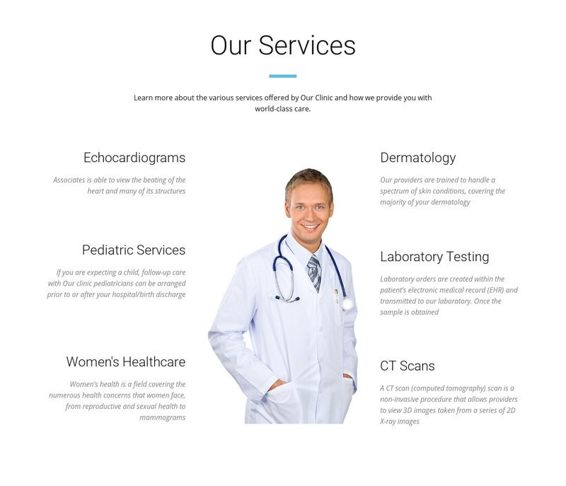 Medical center service Web Page Design