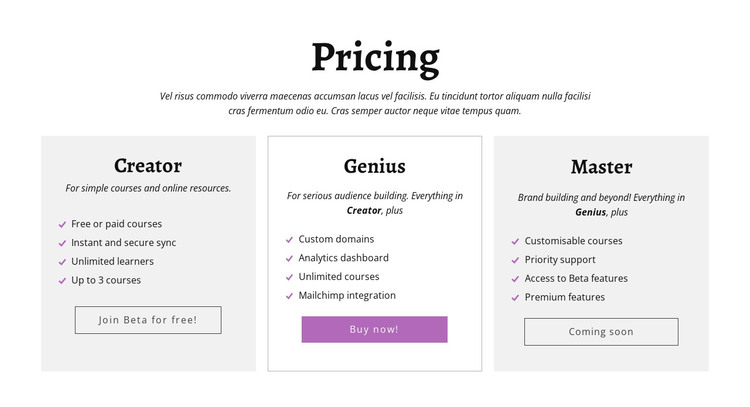 Creator ad other pricing plans HTML Template