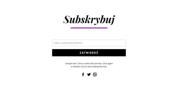 Subskrybuj formularze i ikony społecznościowe Szablon witryny sieci Web