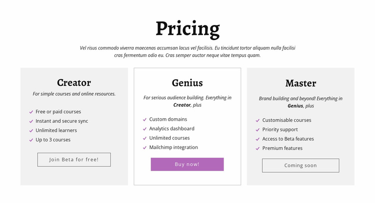 Creator ad other pricing plans Website Template