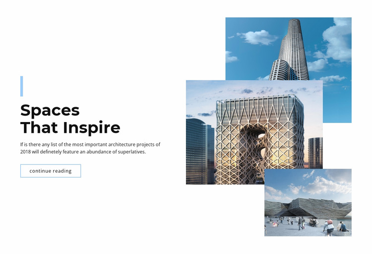 Spaces in the city WordPress Website Builder