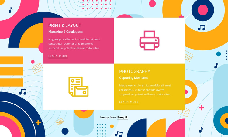 Features in grid One Page Template