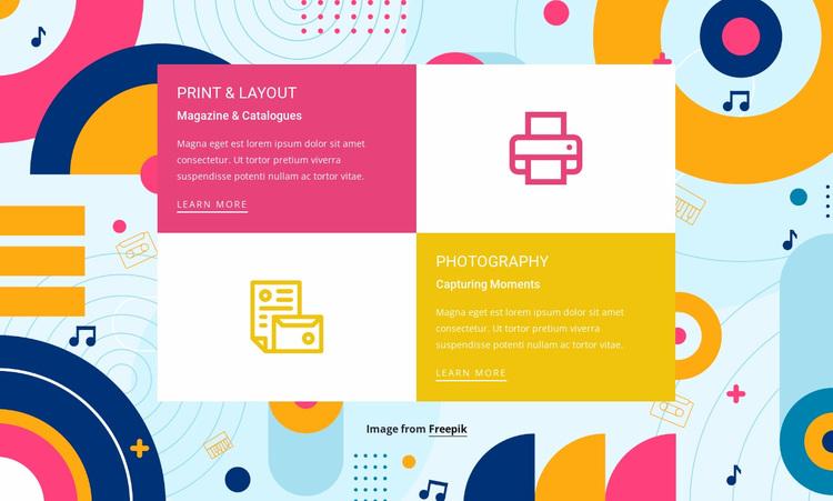 Features in grid Website Design