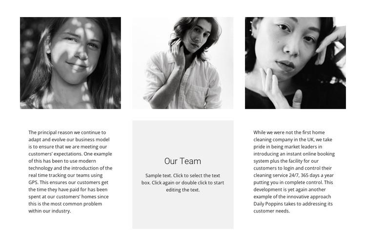 Team of three HTML Template