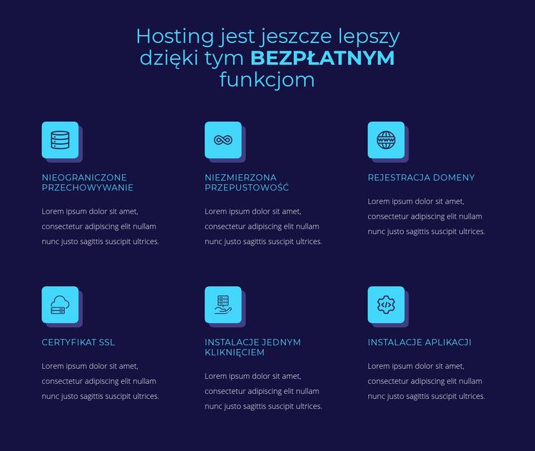 Hosting bezpłatnych funkcji Szablon witryny sieci Web
