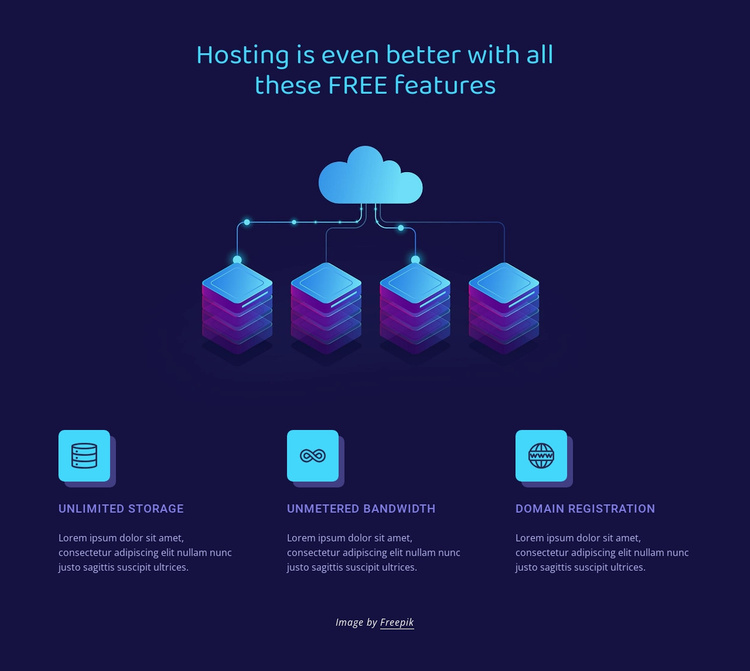 Hosting features Website Template