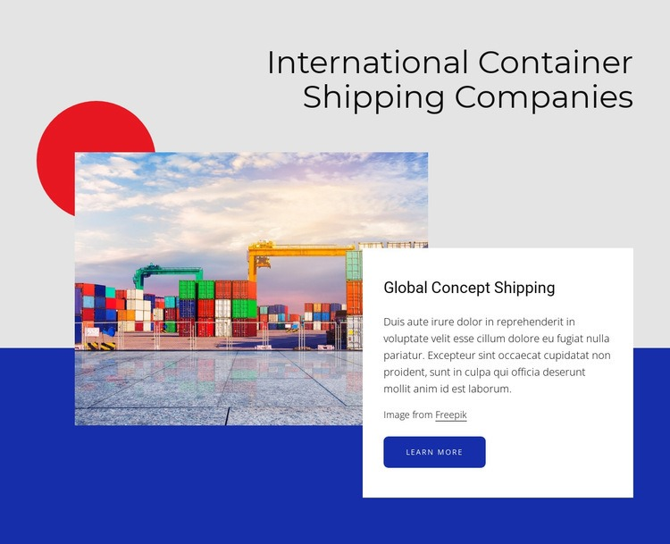 International container shipping companies Web Page Designer