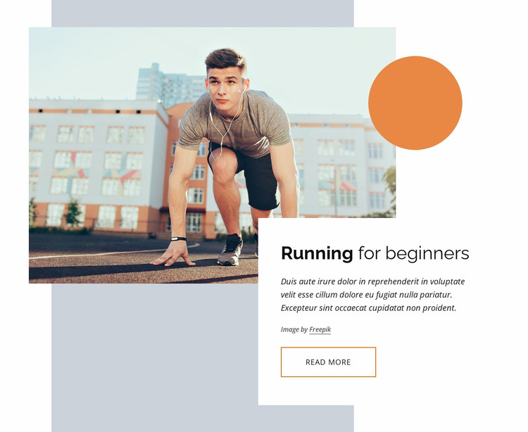 Running courses for beginners Website Mockup