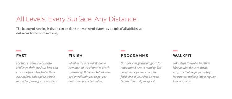 Running challenges Web Design