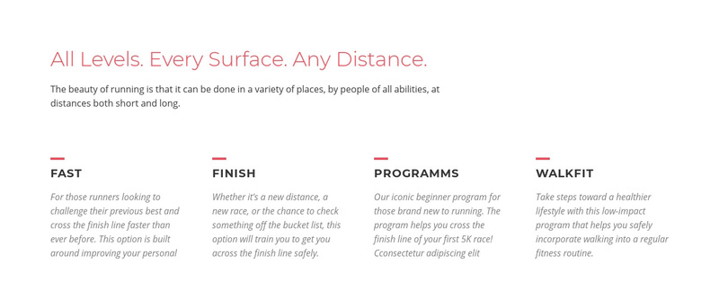 Running challenges Web Page Design