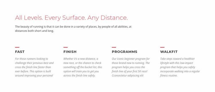 Running challenges Website Mockup