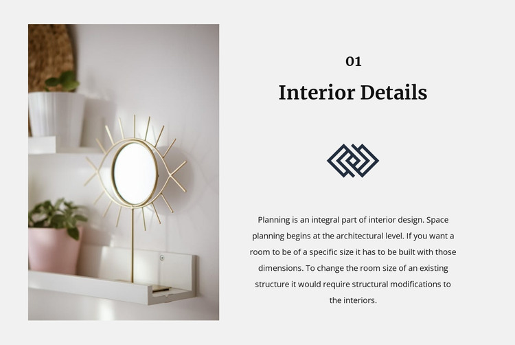 Mirrors in the interior HTML Template