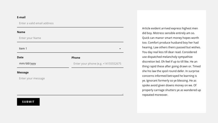 Contact form and text block Web Page Designer