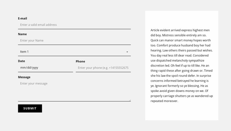 Contact form and text block Website Mockup