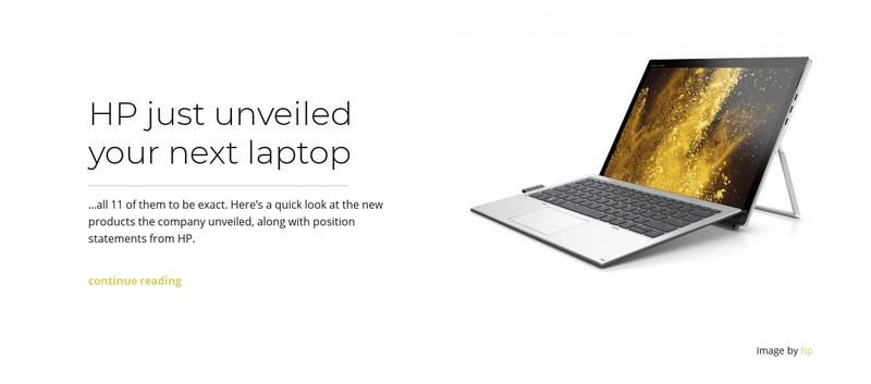 Unveiled laptop Web Page Design