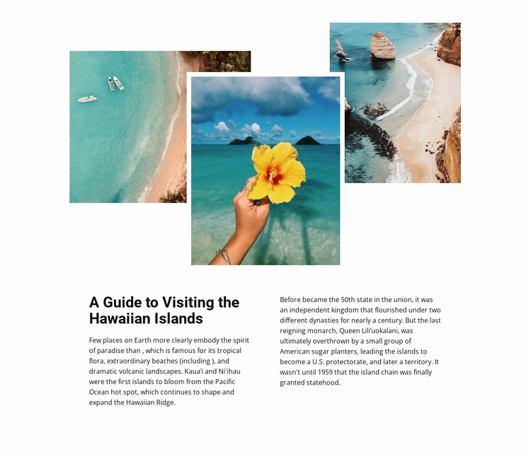 Travel on Hawaiian islands Html Website Builder