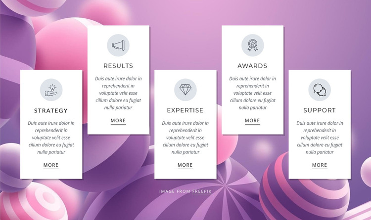 Features on abstract background HTML Template