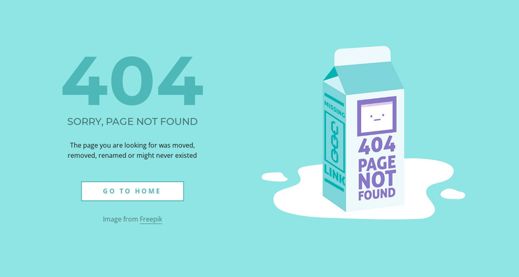 Creative 404 error page One Page Template