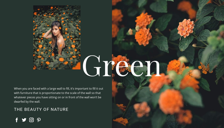 Varieties of the color green HTML Template